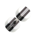 "Multi Stripe Acrylic Fake Plug - 16 GA (1.2mm) - Ball Size: 1/4"" (6mm) - White/Black - Sold as a Pair"