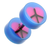 "Peace Heart UV Acrylic Fake Plug - 16 GA (1.2mm) - Ball Size: 5/16"" (8mm) - Blue - Sold as a Pair"
