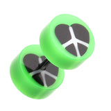 "Peace Heart UV Acrylic Fake Plug - 16 GA (1.2mm) - Ball Size: 5/16"" (8mm) - Green - Sold as a Pair"