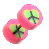 "Peace Heart UV Acrylic Fake Plug - 16 GA (1.2mm) - Ball Size: 5/16"" (8mm) - Pink - Sold as a Pair"