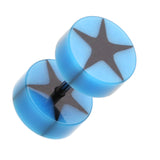 "Psych Star UV Acrylic Fake Plug - 16 GA (1.2mm) - Ball Size: 5/16"" (8mm) - Blue - Sold as a Pair"