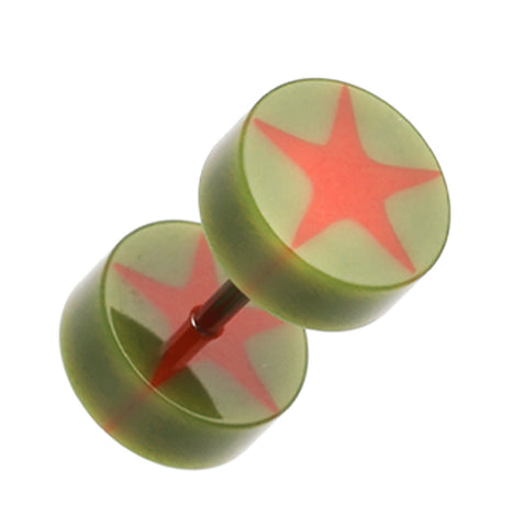 "Psych Star UV Acrylic Fake Plug - 16 GA (1.2mm) - Ball Size: 5/16"" (8mm) - Olive - Sold as a Pair"