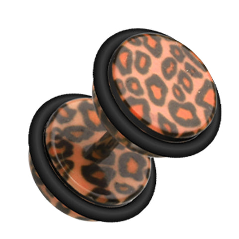 "Leopard Skin Acrylic Fake Plug - 16 GA (1.2mm) - Ball Size: 5/16"" (8mm) - Brown - Sold as a Pair"