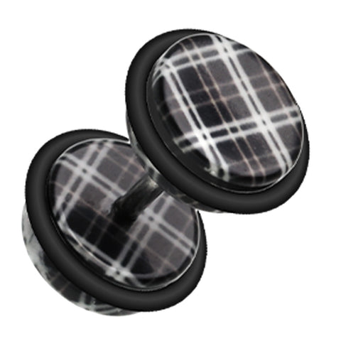 "Plaid Checkers Acrylic Fake Plug with O-Rings - 16 GA (1.2mm) - Ball Size: 5/16"" (8mm) - Black - Sold as a Pair"