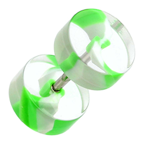 "Swirl Stripe UV Acrylic Fake Plug - 16 GA (1.2mm) - Ball Size: 5/16"" (8mm) - Green/White - Sold as a Pair"