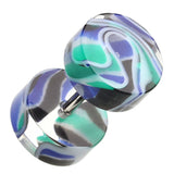 "Marbled Inlay UV Acrylic Fake Plug - 16 GA (1.2mm) - Ball Size: 5/16"" (8mm) - Blue/Green - Sold as a Pair"