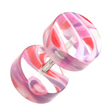 "Marbled Inlay UV Acrylic Fake Plug - 16 GA (1.2mm) - Ball Size: 5/16"" (8mm) - Pink/Purple - Sold as a Pair"