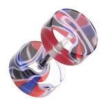 "Marbled Inlay UV Acrylic Fake Plug - 16 GA (1.2mm) - Ball Size: 5/16"" (8mm) - Red/Blue - Sold as a Pair"