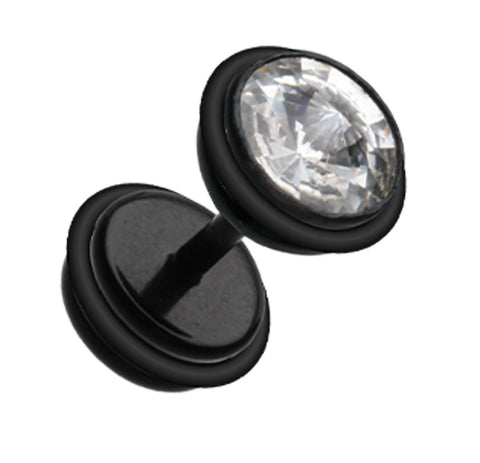 "Bio Flexible Glass-Gem Top Acrylic Fake Plug with O-Rings - 16 GA (1.2mm) - Ball Size: 9/32"" (7mm) - Black - Sold as a Pair"