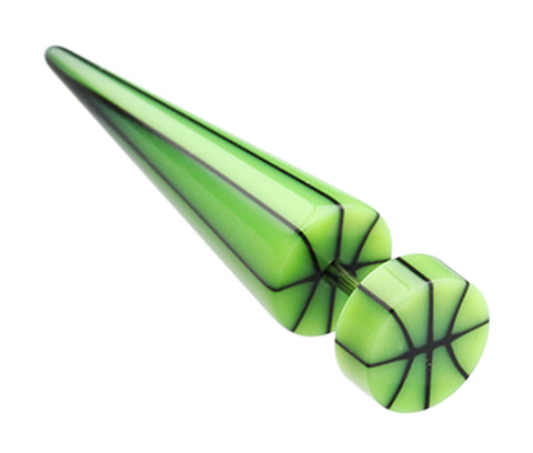 "Basketball UV Acrylic Fake Taper - 18 GA (1mm) - Ball Size: 5/16"" (8mm) - Green - Sold as a Pair"