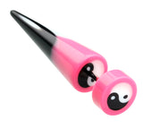 "Ying Yang Retro UV Acrylic Fake Taper - 18 GA (1mm) - Ball Size: 5/16"" (8mm) - Pink - Sold as a Pair"
