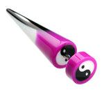 "Ying Yang Retro UV Acrylic Fake Taper - 18 GA (1mm) - Ball Size: 5/16"" (8mm) - Purple - Sold as a Pair"