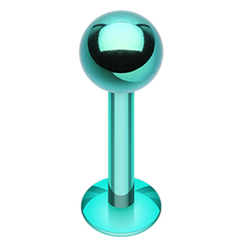 "Colorline PVD 316L Surgical Steel Labret - 14 GA (1.6mm) - Ball Size: 5/32"" (4mm) - Green - Sold as a Pair"