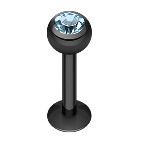 "Blackline PVD Glass-Gem Ball 316L Surgical Steel Labret - 16 GA (1.2mm) - Ball Size: 1/8"" (3mm) - Black/Aqua - Sold as a Pair"