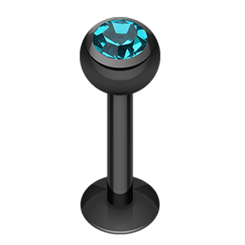 "Blackline PVD Glass-Gem Ball 316L Surgical Steel Labret - 14 GA (1.6mm) - Ball Size: 3/16"" (5mm) - Black/Teal - Sold as a Pair"
