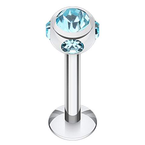 "Aurora Glass-Gem Ball 316L Surgical Steel Labret - 14 GA (1.6mm) - Ball Size: 5/32"" (4mm) - Aqua - Sold as a Pair"