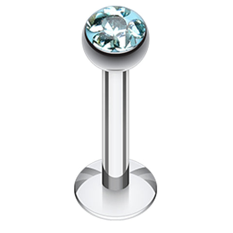 "Sparkling Multi Glass-Gem Dome Labret - 14 GA (1.6mm) - Ball Size: 5/32"" (4mm) - Aqua - Sold as a Pair"