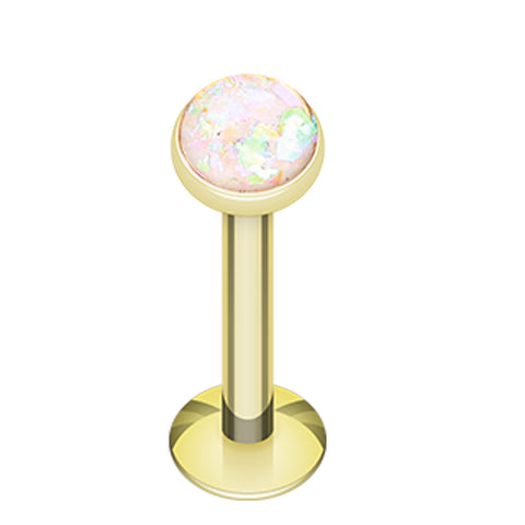 "Golden Colored Opalescent Glitter Shower Dome 316L Surgical Steel Labret - 16 GA (1.2mm) - Ball Size: 5/32"" (4mm) - White - Sold as a Pair"