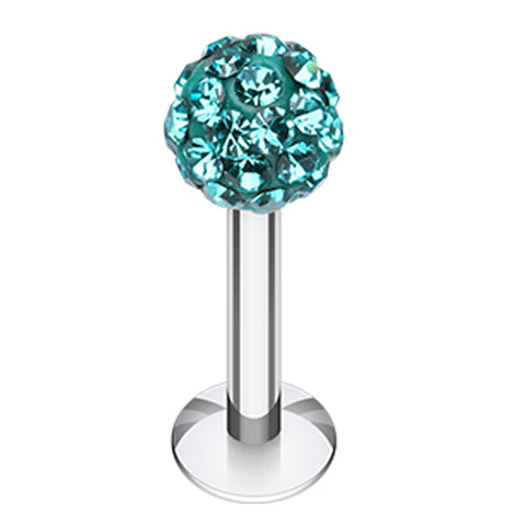 "Sparkling Multi Glass-Gem Ball 316L Surgical Steel Labret - 14 GA (1.6mm) - Ball Size: 5/32"" (4mm) - Teal - Sold as a Pair"