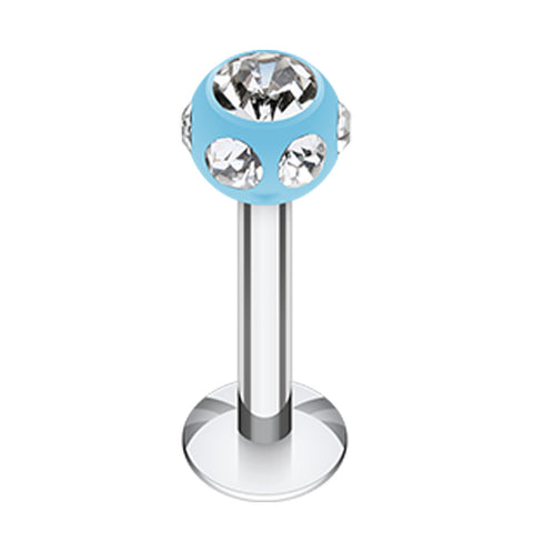 "Aurora Glass-Gem UV Acrylic Ball Top Labret - 16 GA (1.2mm) - Ball Size: 1/8"" (3mm) - Light Blue/Clear - Sold as a Pair"