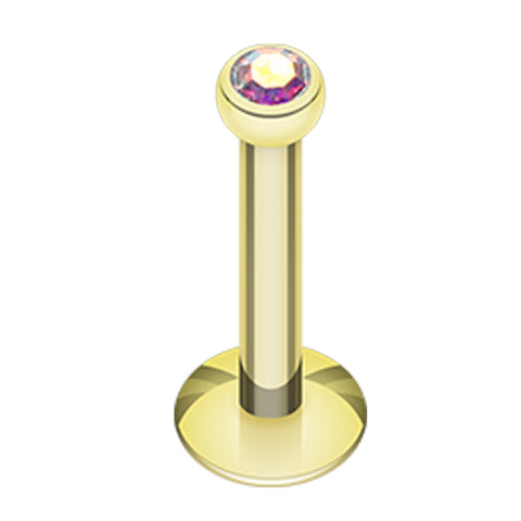 "Gold Plated Glass-Gem Ball Internally Threaded Labret - 16 GA (1.2mm) - Ball Size: 3/32"" (2mm) - Aurora Borealis - Sold as a Pair"