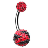 Majestic Stripe Sparkling Belly Button Ring - 14 GA (1.6mm) - Red/Black - Sold Individually