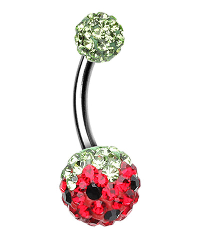 Sweet Berry Sparkling Belly Button Ring - 14 GA (1.6mm) - Green/Red - Sold Individually