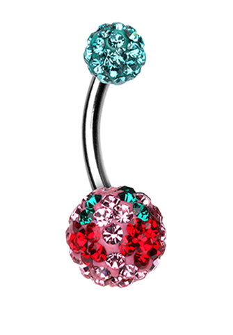 Cheri Cherry Sparkling Belly Button Ring - 14 GA (1.6mm) - Teal/Light Pink - Sold Individually
