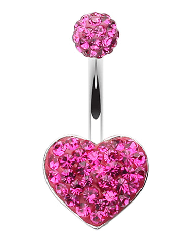 Classic Heart Sparkling Belly Button Ring - 14 GA (1.6mm) - Fuchsia - Sold Individually