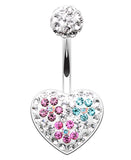 Blossom Crystal Heart Sparkling Belly Button Ring - 14 GA (1.6mm) - Purple/Teal/Fuchsia - Sold Individually