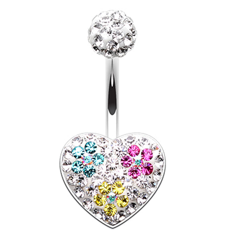 Blossom Crystal Heart Sparkling Belly Button Ring - 14 GA (1.6mm) - Teal/Fuchsia/Yellow - Sold Individually