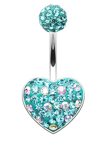 Adorable Polka Dot Heart Sparkling Belly Button Ring - 14 GA (1.6mm) - Teal - Sold Individually