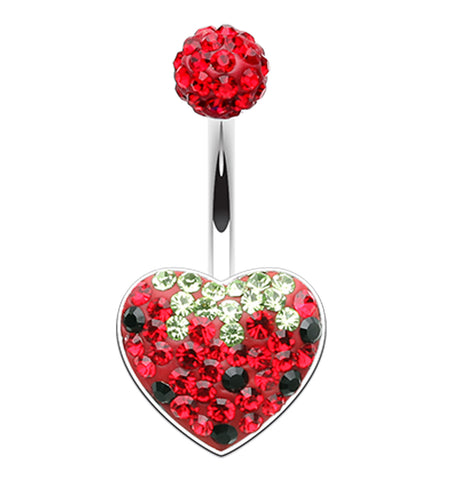 Strawberry Heart Sparkling Belly Button Ring - 14 GA (1.6mm) - Red - Sold Individually
