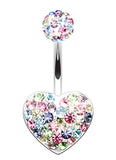 Brilliant Motley Heart Sparkling Belly Button Ring - 14 GA (1.6mm) - Candy - Sold Individually