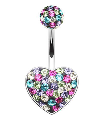 Brilliant Motley Heart Sparkling Belly Button Ring - 14 GA (1.6mm) - Retro - Sold Individually