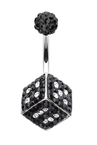 Ice Dice Sparkling Belly Button Ring - 14 GA (1.6mm) - Black/Clear - Sold Individually