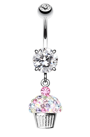 Cupcake Delight Sparkling Dangle Belly Button Ring - 14 GA (1.6mm) - Clear/Rainbow - Sold Individually