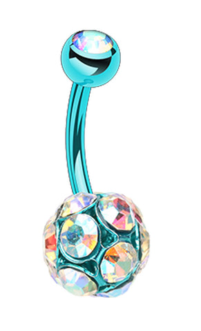 Colorline Sparkle Multi Glass-Gem Belly Button Ring - 14 GA (1.6mm) - Teal/Aurora Borealis - Sold Individually