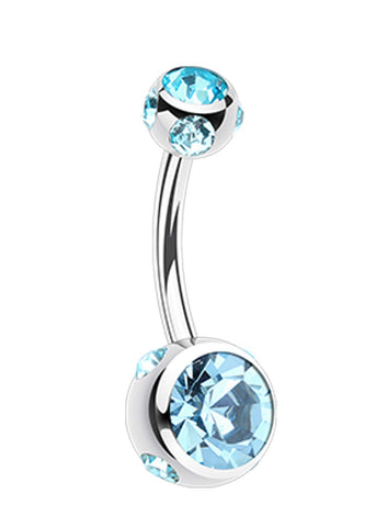 "Aurora Glass-Gem Ball 316L Surgical Steel Belly Button Ring - 14 GA (1.6mm) - Ball Size: 3/16x5/16"" (5x8mm) - Aqua - Sold Individually"