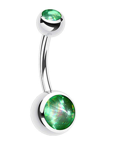 "Hologram Sparkle 316L Surgical Steel Belly Button Ring - 14 GA (1.6mm) - Ball Size: 3/16x5/16"" (5x8mm) - Light Green - Sold Individually"