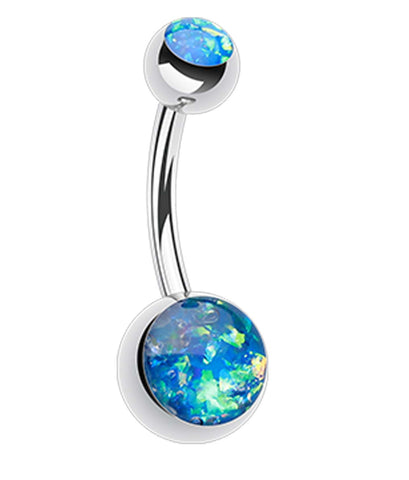 "Opalescent Glitter Shower Belly Button Ring - 14 GA (1.6mm) - Ball Size: 3/16x5/16"" (5x8mm) - Blue - Sold Individually"