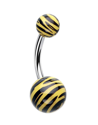 Zebra Stripe Patterned Acrylic Belly Button Ring - 14 GA (1.6mm) - Black/Yellow - Sold Individually