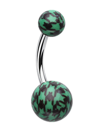 "Houndtooth Patterned Acrylic Belly Button Ring - 14 GA (1.6mm) - Ball Size: 3/16x5/16"" (5x8mm) - Green - Sold Individually"