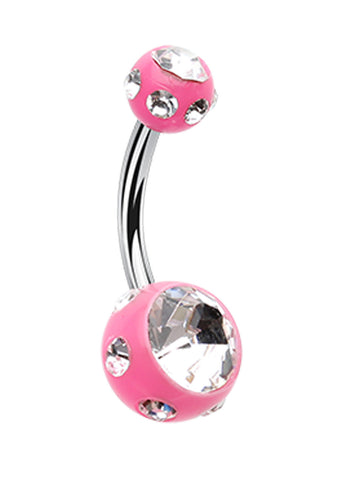 "Aurora Glass-Gem Ball Acrylic Belly Button Ring - 14 GA (1.6mm) - Ball Size: 3/16x5/16"" (5x8mm) - Pink - Sold Individually"