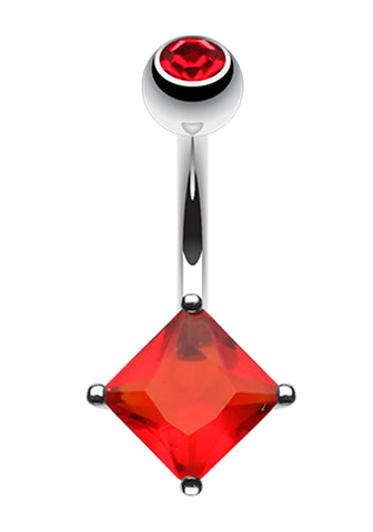 Classic Square Glass-Gem Prong Sparkle Belly Button Ring - 14 GA (1.6mm) - Red - Sold Individually
