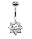 Spring Flower Belly Button Ring - 14 GA (1.6mm) - Clear - Sold Individually