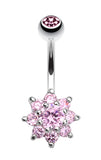 Spring Flower Belly Button Ring - 14 GA (1.6mm) - Pink - Sold Individually