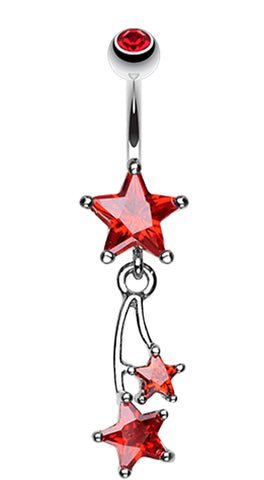 Shooting Star Sparkle Belly Button Ring - 14 GA (1.6mm) - Red - Sold Individually