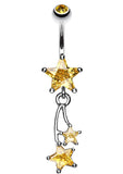Shooting Star Sparkle Belly Button Ring - 14 GA (1.6mm) - Yellow - Sold Individually