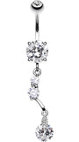 Sparkling Crystal Drop Belly Button Ring - 14 GA (1.6mm) - Clear - Sold Individually